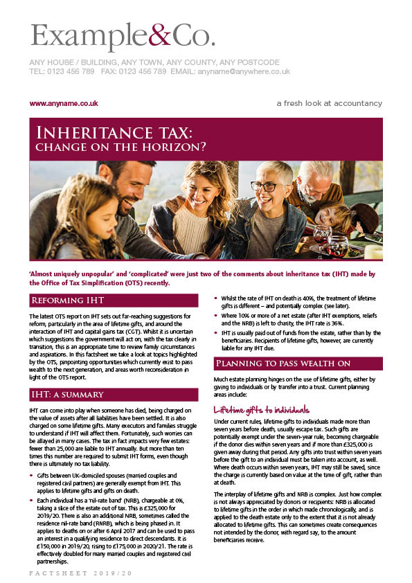 Inheritance tax: Change on the horizon?