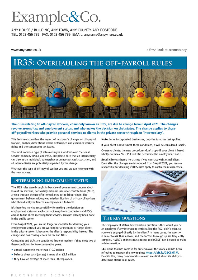 IR35: overhauling the off-payroll rules