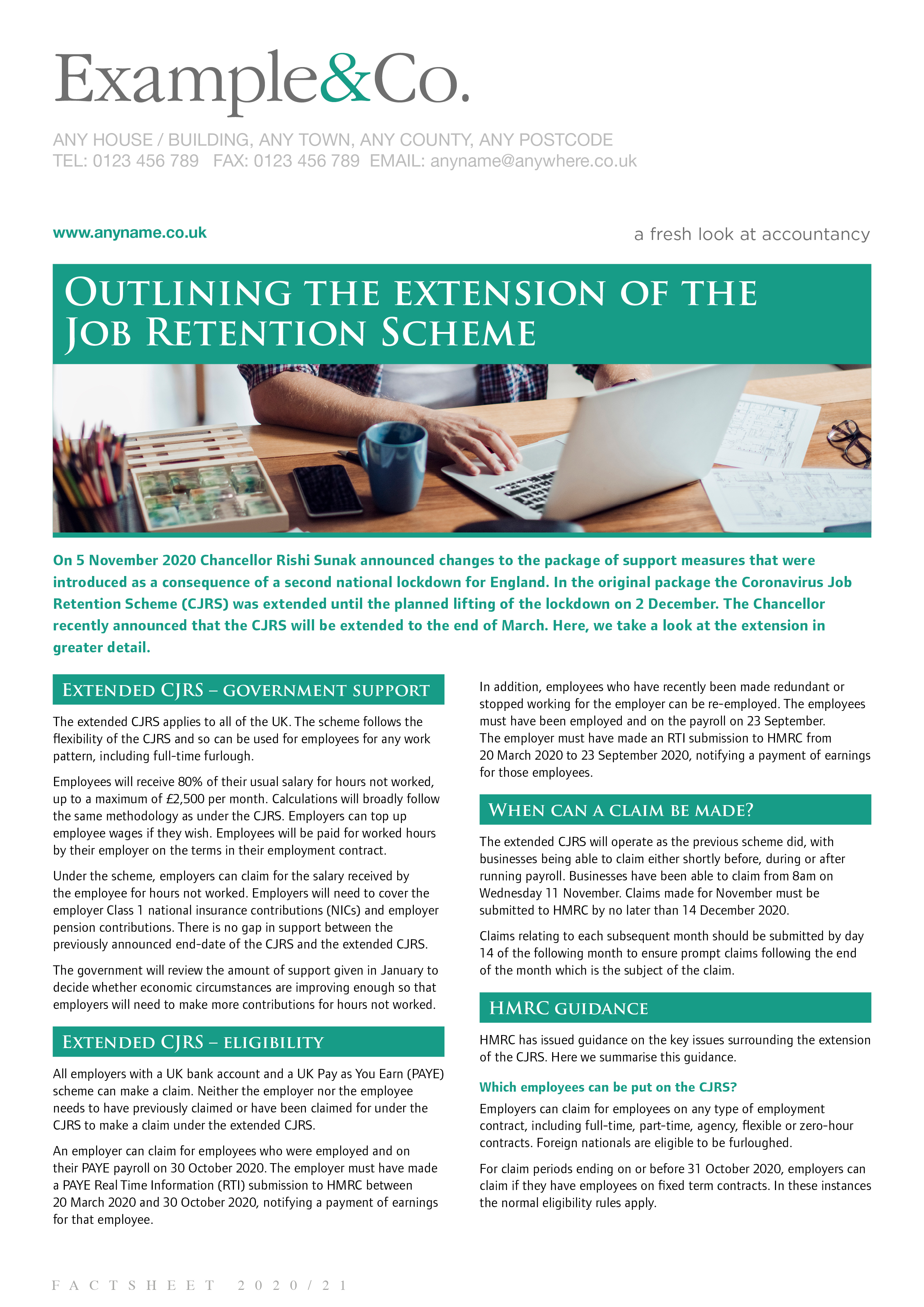 Outlining the extension of the Job Retention Scheme